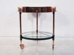 Round Italian Tray Table of Copper Lacquered Iron and Glass - 1176462