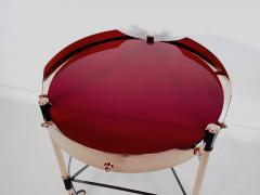 Round Italian Tray Table of Copper Lacquered Iron and Glass - 1176467