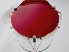 Round Italian Tray Table of Copper Lacquered Iron and Glass - 1176469