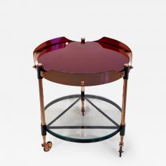 Round Italian Tray Table of Copper Lacquered Iron and Glass - 1179112
