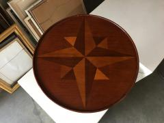 Round Oak Smokers Side Cigar Table w Inlay Top - 1348153