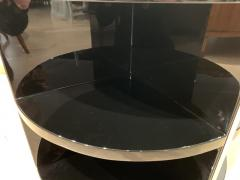 Round Restored Art Deco Sofa Table Black Lacquer and Metal France circa 1930 - 1889020