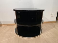 Round Restored Art Deco Sofa Table Black Lacquer and Metal France circa 1930 - 1889021