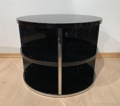 Round Restored Art Deco Sofa Table Black Lacquer and Metal France circa 1930 - 1889022