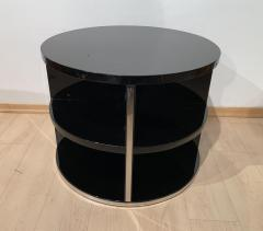 Round Restored Art Deco Sofa Table Black Lacquer and Metal France circa 1930 - 1889023