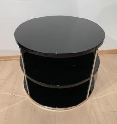 Round Restored Art Deco Sofa Table Black Lacquer and Metal France circa 1930 - 1889024