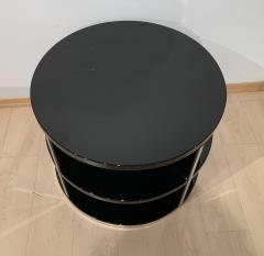 Round Restored Art Deco Sofa Table Black Lacquer and Metal France circa 1930 - 1903798