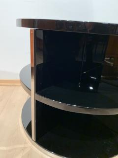Round Restored Art Deco Sofa Table Black Lacquer and Metal France circa 1930 - 1903800