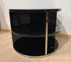 Round Restored Art Deco Sofa Table Black Lacquer and Metal France circa 1930 - 1903801
