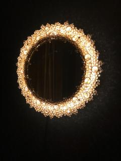 Round backlit mirror with faceted Austrian Swarovski Crystals  - 2055368