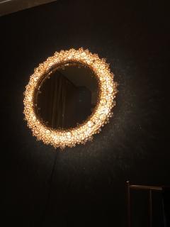 Round backlit mirror with faceted Austrian Swarovski Crystals  - 2055369