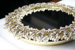 Round backlit mirror with faceted Austrian Swarovski Crystals  - 2055430