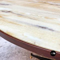 Round table with marble effect 1950s - 2135189