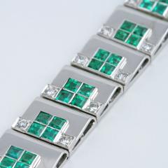 Rubel Fr res Rubel Freres French Retro Diamond Emerald and White Gold Bracelet - 240089
