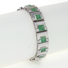 Rubel Fr res Rubel Freres French Retro Diamond Emerald and White Gold Bracelet - 240092