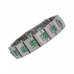 Rubel Fr res Rubel Freres French Retro Diamond Emerald and White Gold Bracelet - 240556