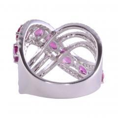 Ruby Diamond 18KW Wide Ring - 2139266