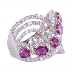 Ruby Diamond 18KW Wide Ring - 2139267