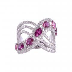 Ruby Diamond 18KW Wide Ring - 2139351