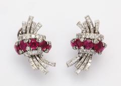 Ruby Diamond Earrings in Platinum - 444838