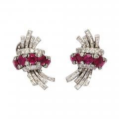 Ruby Diamond Earrings in Platinum - 445794