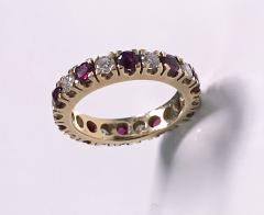 Ruby and Diamond Eternity Ring 14K - 1172528