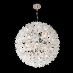 Rupert Nikoll Mid Century Modern Chrome Murano Glass Stylized Floral Sputnik Chandelier - 2004816