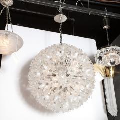 Rupert Nikoll Mid Century Modern Chrome Murano Glass Stylized Floral Sputnik Chandelier - 2004817