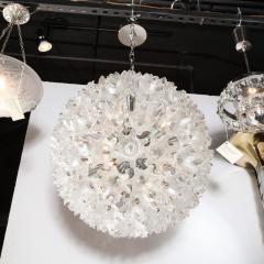 Rupert Nikoll Mid Century Modern Chrome Murano Glass Stylized Floral Sputnik Chandelier - 2004826