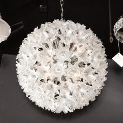 Rupert Nikoll Mid Century Modern Chrome Murano Glass Stylized Floral Sputnik Chandelier - 2004829
