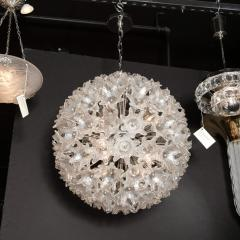 Rupert Nikoll Mid Century Modern Chrome Murano Glass Stylized Floral Sputnik Chandelier - 2004845