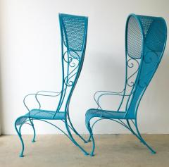Russell Woodard Two Mid Century New Blue Modern Russell Woodard Wrought Iron Canopy Patio Chairs - 1028251