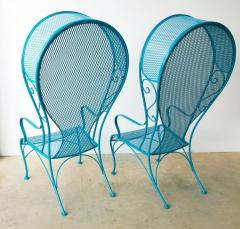 Russell Woodard Two Mid Century New Blue Modern Russell Woodard Wrought Iron Canopy Patio Chairs - 1028252