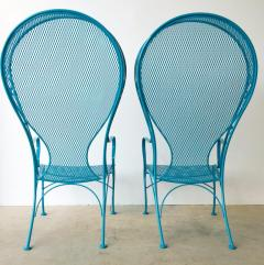 Russell Woodard Two Mid Century New Blue Modern Russell Woodard Wrought Iron Canopy Patio Chairs - 1028253