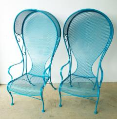Russell Woodard Two Mid Century New Blue Modern Russell Woodard Wrought Iron Canopy Patio Chairs - 1028254