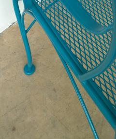 Russell Woodard Two Mid Century New Blue Modern Russell Woodard Wrought Iron Canopy Patio Chairs - 1028256