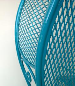 Russell Woodard Two Mid Century New Blue Modern Russell Woodard Wrought Iron Canopy Patio Chairs - 1028257