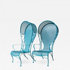 Russell Woodard Two Mid Century New Blue Modern Russell Woodard Wrought Iron Canopy Patio Chairs - 1029137