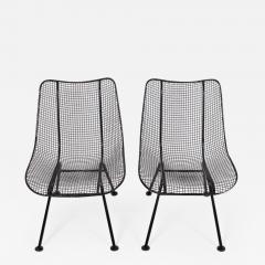 Russell Woodard Woodard Furniture Pair of Russell Woodard Black Sculptura Lanai Chairs 1950s - 1574077