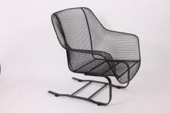 Russell Woodard Woodard Furniture Russell Woodard Black Sculptura Spring Lounge Armchair 1950s - 1593673