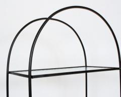 Russell Woodard Woodard Furniture Russell Woodard Four Shelf tag re in Black Iron and Art Glass 1950s - 1800447