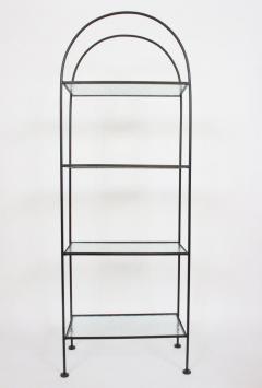 Russell Woodard Woodard Furniture Russell Woodard Four Shelf tag re in Black Iron and Art Glass 1950s - 1800448