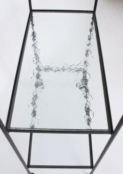 Russell Woodard Woodard Furniture Russell Woodard Four Shelf tag re in Black Iron and Art Glass 1950s - 1800449