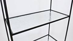 Russell Woodard Woodard Furniture Russell Woodard Four Shelf tag re in Black Iron and Art Glass 1950s - 1800453