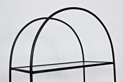 Russell Woodard Woodard Furniture Russell Woodard Four Shelf tag re in Black Iron and Art Glass 1950s - 1800457