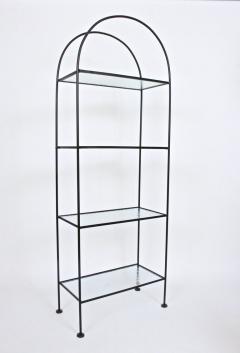 Russell Woodard Woodard Furniture Russell Woodard Four Shelf tag re in Black Iron and Art Glass 1950s - 1800458