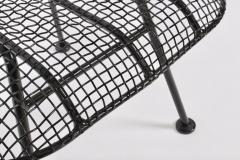 Russell Woodard Woodard Furniture Russell Woodard Original Sculptura Black Iron Mesh Ottoman 1950s - 1572099