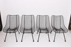Russell Woodard Woodard Furniture Set of Four Russell Woodard Sculptura Black Lanai Side Chairs 1950s - 1599335