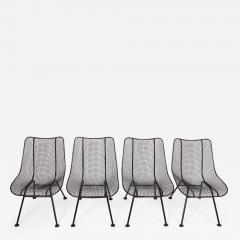 Russell Woodard Woodard Furniture Set of Four Russell Woodard Sculptura Black Lanai Side Chairs 1950s - 1601819