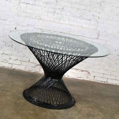 Russell Woodard Woodard Furniture Spun fiberglass round dining table with glass top attributed to russell woodard - 1843735